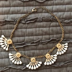 White floral statement necklace